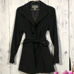 Ann Taylor Black Belted Trench Coat Sz S EUC